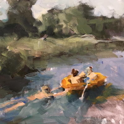 Family Rafting on the River     Acrylic 9x112