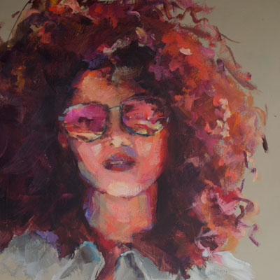PORTRAIT OF GIRL WITH SUNGLASSES     Acrylic 16x20