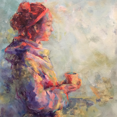 Portrait of Woman with a cup of coffee     Acrylic 16x20
