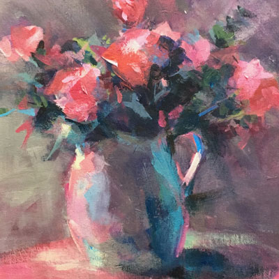 Painting of Pink Roses in a Pitcher acrylic painting by NancyJeanette Long