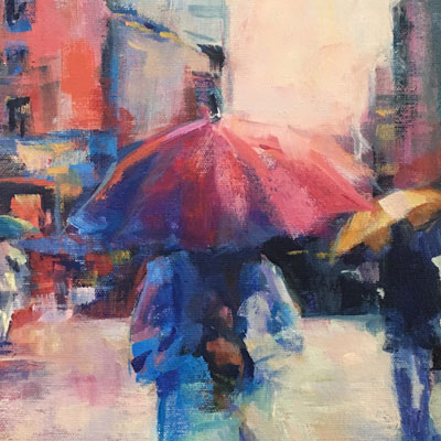 Painting of a Girl with a Pink Umbrella    Acrylic 8x8